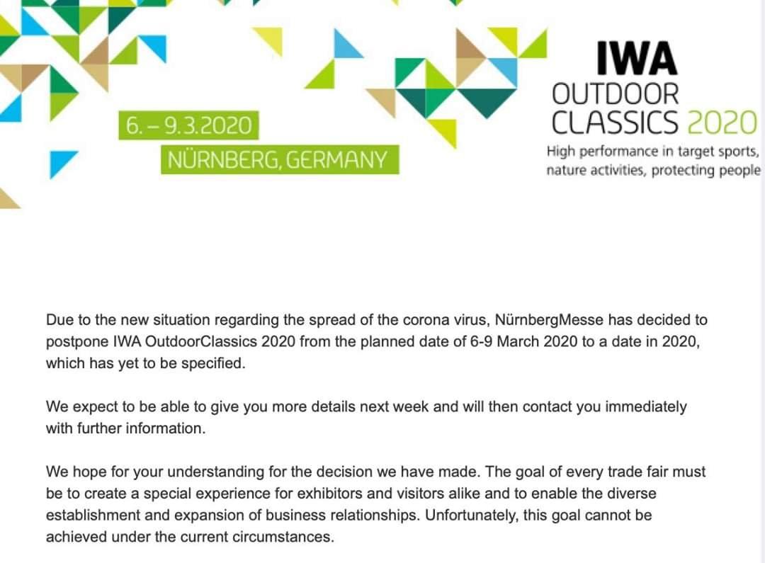 IWA, la mayor feria de armas y caza de Europa se aplaza por el COVID-19 Ferias
