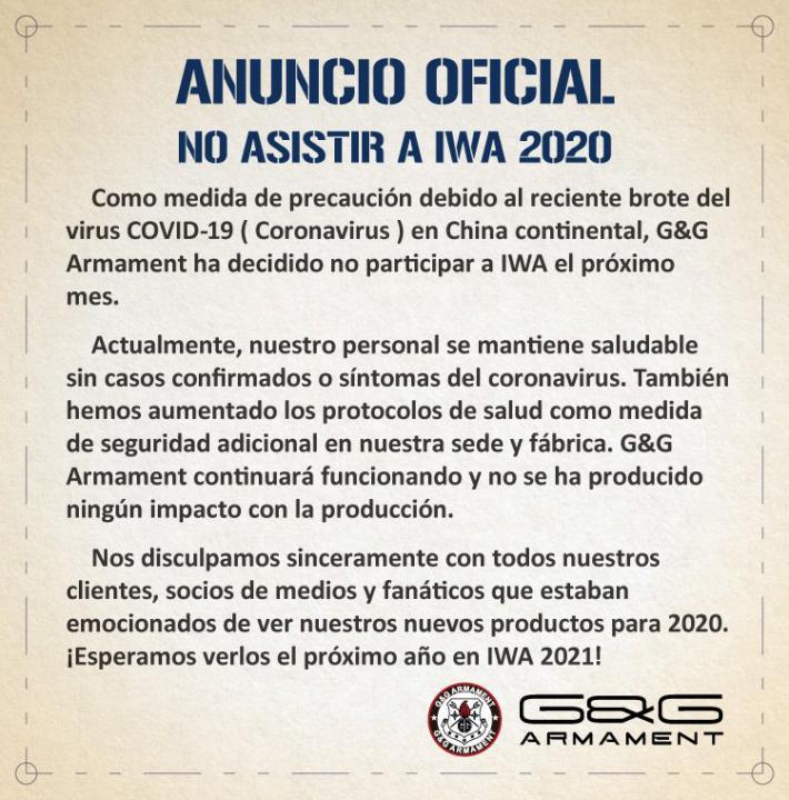 Vega Force Company y G&G no asistirán a la exposición IWA 2020 Ferias