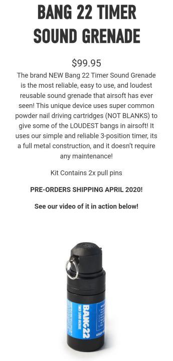 Nueva granada Bang 22 de Airsoft Innovations, con tres niveles de detonación Novedades